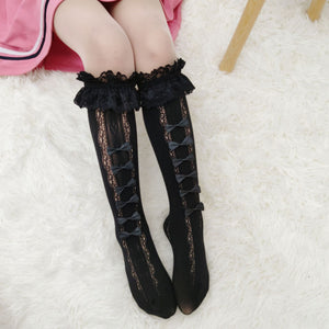 """BOW ROW"" KNEE-SOCKS (3 COLORS)"