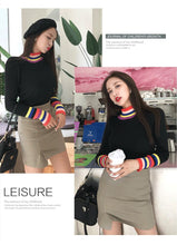 Load image into Gallery viewer, RAINBOW TRIM TURTLENECK (3 COLORS)