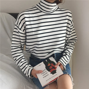 """SIMPLE"" STRIPED TURTLENECK (2 COLORS)"