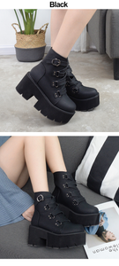 """GWEN"" ANKLE PLATFORM BOOTS (2 COLORS)"