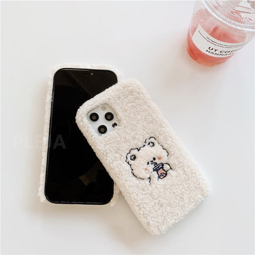 FUZZY WHITE BEAR IPHONE CASE