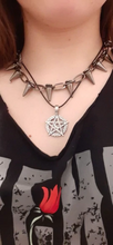"Load image into Gallery viewer, ""STAY AWAY"" SPIKED CHOKER"