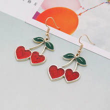 Load image into Gallery viewer, GLITTER CHERRY EARRINGS (2 COLORS)