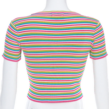 "Load image into Gallery viewer, ""PASTEL STRIPE LOVE"" CROP TOP"