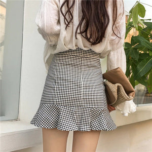 RUFFLE GINGHAM SKIRT