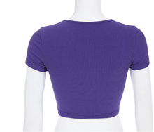"Load image into Gallery viewer, ""PURPLE FLOWER POWER"" CROP TOP"