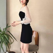 Load image into Gallery viewer, PUFF SLEEVE BLACK SLIP DRESS