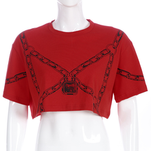"Load image into Gallery viewer, ""CHAINED UP"" CROP TOP"
