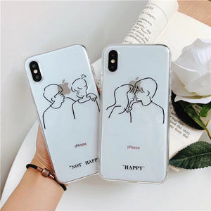 """HAPPY / NOT HAPPY COUPLE"" IPHONE CASE (2 DESIGNS)"