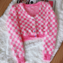 "Load image into Gallery viewer, ""PINK CHECKERBOARD DOLL"" CARDIGAN"