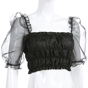 """DARK FAIRY"" PUFF SLEEVE CROP TOP"