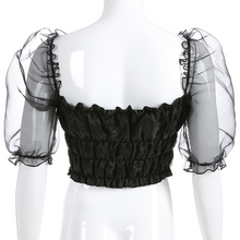 "Load image into Gallery viewer, ""DARK FAIRY"" PUFF SLEEVE CROP TOP"