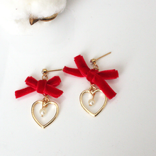 "Load image into Gallery viewer, ""HEART BOW"" EARRINGS (2 COLORS)"