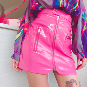 HOT PINK ZIP UP SKIRT