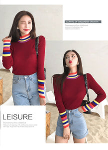 RAINBOW TRIM TURTLENECK (3 COLORS)