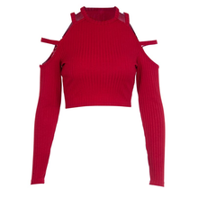 "Load image into Gallery viewer, ""RED DEVIL"" LONG SLEEVE CROP TOP"