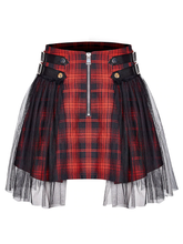 Load image into Gallery viewer, DARK LACE PLAID SKIRT
