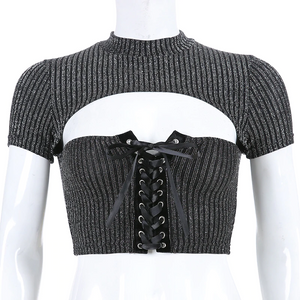 """NIGHT"" BOW KNOT CROP TOP"