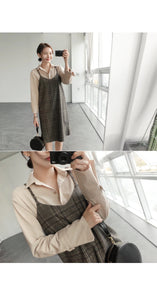 """SIMPLE"" BROWN PLAID DRESS"