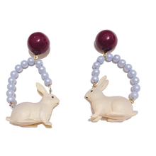 "Load image into Gallery viewer, ""EXOTIC RABBIT"" EARRINGS (3 COLORS)"