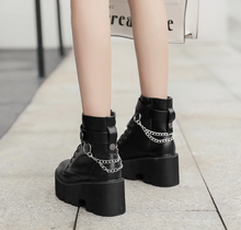 "Load image into Gallery viewer, ""CHAINED UP"" ANKLE BOOTS"