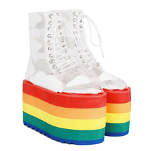 "Load image into Gallery viewer, ""RAINBOW CLOUDS"" PLATFORM BOOTS"