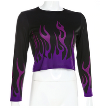 "Load image into Gallery viewer, ""FLAMES OF HELL"" CROP TOP"