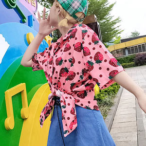 """ALL OVER"" STRAWBERRY BLOUSE"