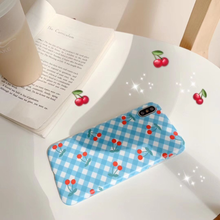 "Load image into Gallery viewer, ""BLUE PICNIC CHERRIES"" IPHONE CASE"