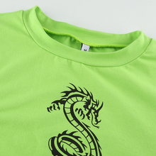"Load image into Gallery viewer, ""LIME DRAGON"" CROP TOP"