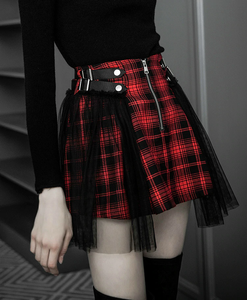 DARK LACE PLAID SKIRT