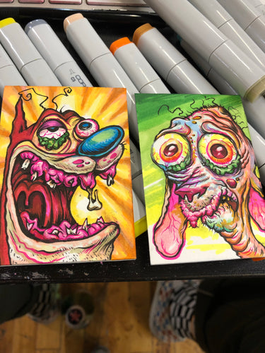"2.5""x3.5""  2 Original Sketch Card Set"