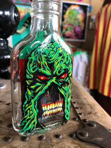 Reverse Painted Bottle SwampThing Round 2