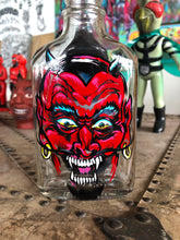 Load image into Gallery viewer, Reverse Painted Glass Bottle Devil. Round 2