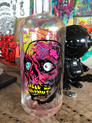 Reverse Painted Bottle Skully Round 2