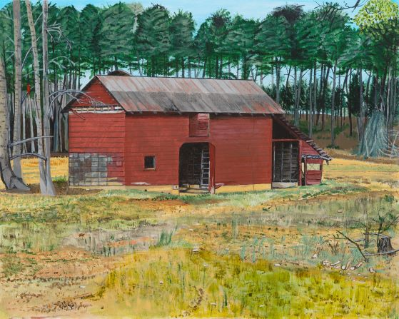 Dark Corner Red Barn Large Print