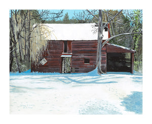 "Snow Barn 11"" x 14"" original unframed"