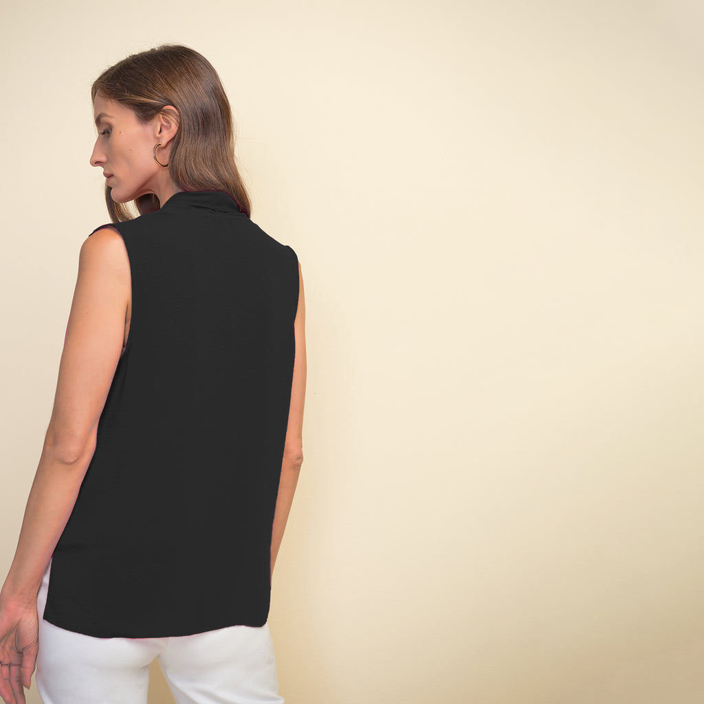 JOSEPH RIBKOFF // 211262 DRAPED BLOUSE BLACK
