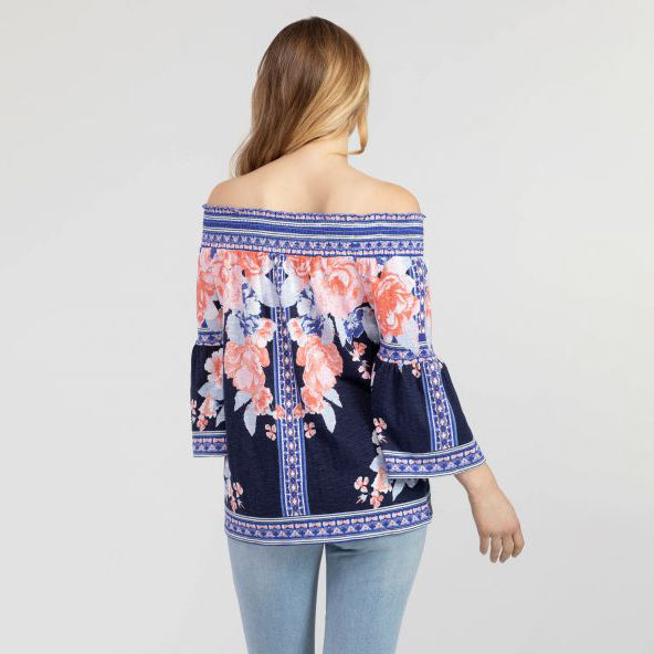 TRIBAL // 6544O ON + OFF THE SHOULDER TOP