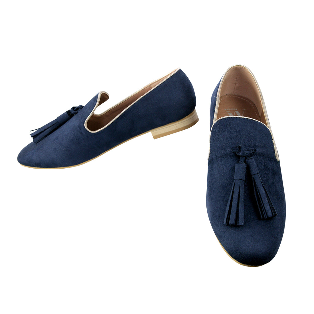 VANESSA WU // MO1767 TASSELED LOAFERS NAVY