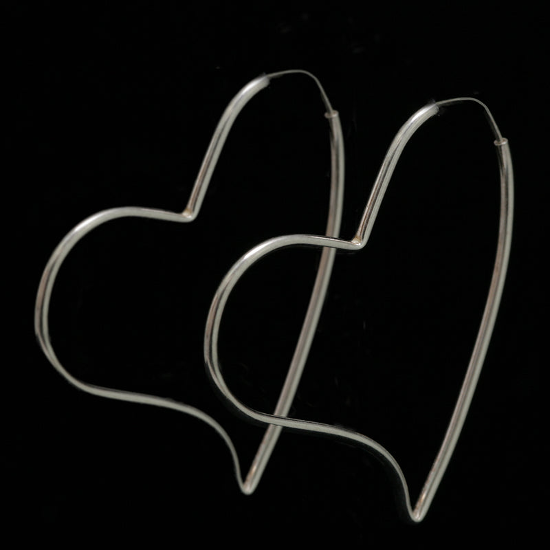 SILVER SA // HEART-SHAPED HOOPS 2""