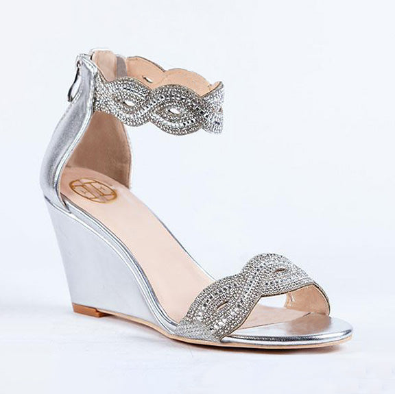 LITTLE EMPRESSES // GHE-15 DRESSY WEDGE SANDALS SILVER