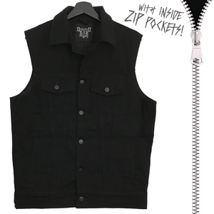 Black Zipping Metal Denim Vest