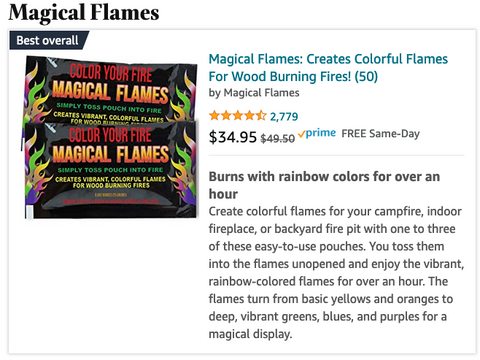 Create colorful flames for your campfire, indoor fireplace, or backyard fire pit with one to three of these easy-to-use pouches. You toss them into the flames unopened and enjoy the vibrant, rainbow-colored flames for over an hour. The flames turn from basic yellows and oranges to deep, vibrant greens, blues, and purples for a magical display