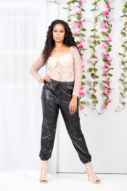 Christina Faux Leather Joggers-NYCOWLL