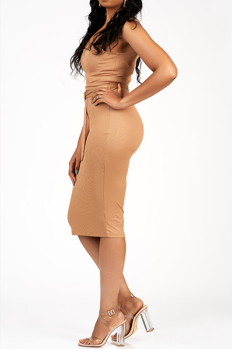 Issa Vibe Ribbed Dress (Almond)