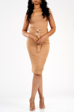Issa Vibe Ribbed Dress (Almond)-NYCOWLL