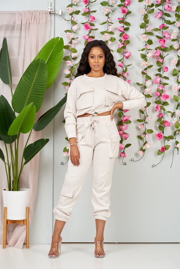 Luxe Essential Jogger Set (Cream)-NYCOWLL