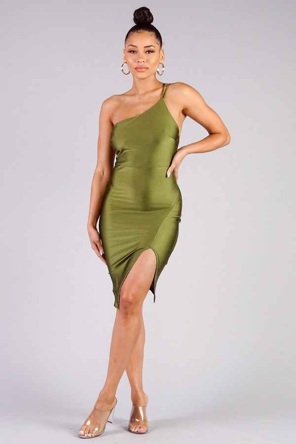 Melrose One Shoulder Satin Midi Dress - Olive-NYCOWLL