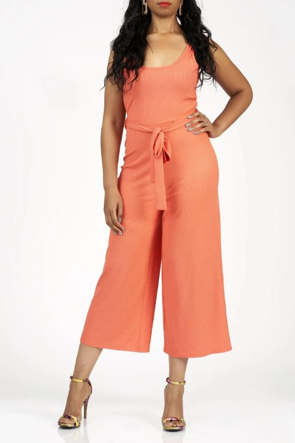 Essential Ribbed Jumpsuit (Peach)